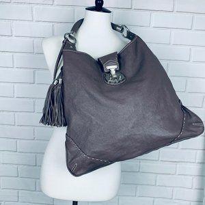 Talbots taupe pebbled leather boho shoulder bag